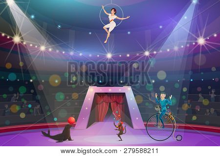 Big Top Circus Show, Performers And Animals. Vector Monkey Juggler And Female Air Gymnast In Hoop, T
