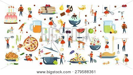 Happy Family Cooking Together Set. Poster, Banner Template For Cooking Master Class In Flat. Dad, Mo
