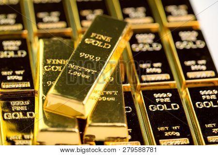 Stack Of Gold Bar Bullions Ingot, Investment Asset For Crisis Safe Haven For Investment Or Reserve F