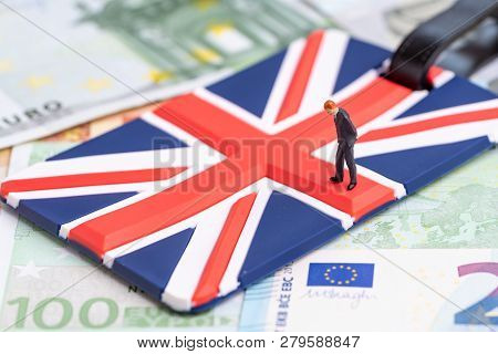 Europe, Brexit Or Britain Economy Or Financial Concept, Miniature Figure Businessman Country Leader
