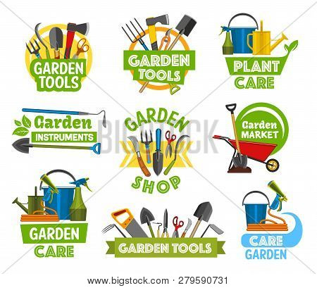 Garden Or Farming Tools And Equipment Icons. Vector Forks And Spit, Shovel And Axe, Scissors And Sec