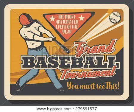 Batter On Baseball Sport Match, Invitation. Retro Vector Bat And Ball, Helmet And Uniform, Player Ma