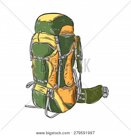 Hand Drawn Sketch Of Camping Backpack In Color Isolated On White Background. Detailed Vintage Style