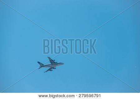 Zurich, Switzerland - July 19, 2018: Singapore airlines airplane in the blue sky