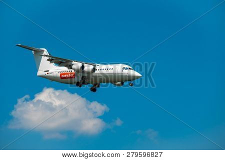 Zurich, Switzerland - July 19, 2018: EasyJet Airline Company airplane preparing for landing. EasyJet Airline Company Limited is a British low-cost carrier airline headquartered at London Luton Airport