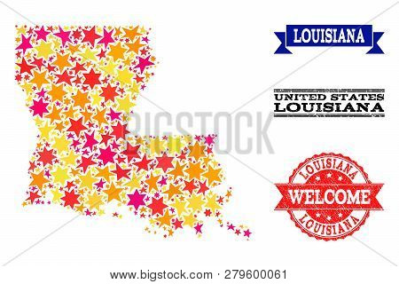 Mosaic Map Of Louisiana State Formed With Colored Flat Stars, And Grunge Textured Stamps, Isolated O