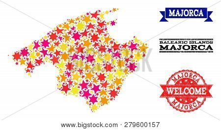 Mosaic Map Of Majorca Formed With Colored Flat Stars, And Grunge Textured Stamps, Isolated On An Whi