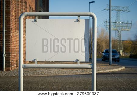 Blank White Sign With Copy Space On The Roadside