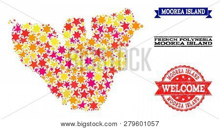 Mosaic Map Of Moorea Island Composed With Colored Flat Stars, And Grunge Textured Stamps, Isolated O