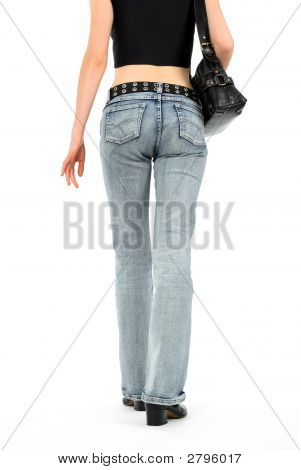 Urban Young Woman In Jeans
