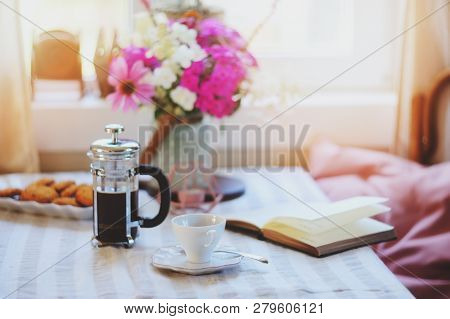 Summer Breakfast In Cozy Country House. Table With Bouquet Of Flowers From Own Garden, French Press