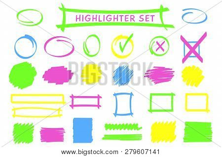 Neon Highlight Pen Frames And Scribble Set Vector Illustration. Group Of Highlight Classified Boxes,