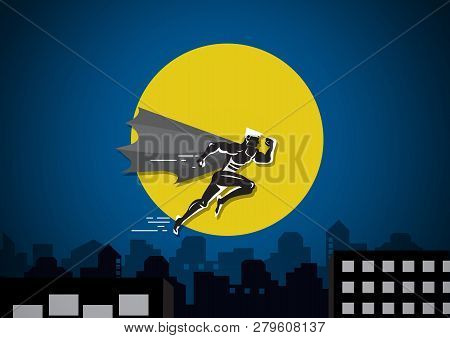 Superhero Businessman Running To Jump Over Building  Between Two Cliffs On City Background