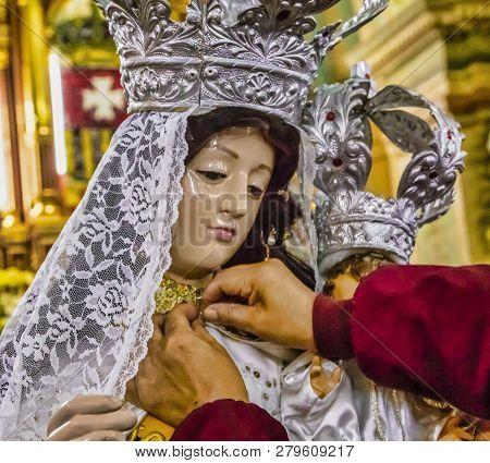 Latacunga, Ecuador - September 22, 2018 - Statue Of Virgen Is Celebrated During Mama Negra Festival