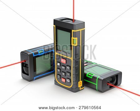 Three Laser Distance Meter In Xyz Direction - 3d Illustration