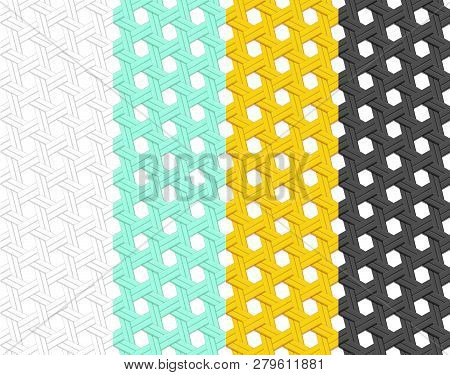Seamless Rattan Pattern In Flat Style, Vector Art Design