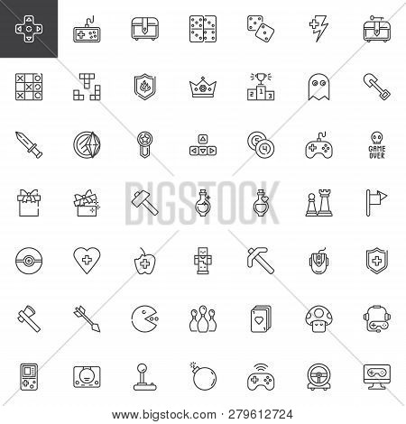 Gaming Elements Line Icons Set. Linear Style Symbols Collection, Outline Signs Pack. Vector Graphics