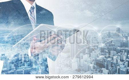 Business Network, Blockchain Technology And Internet Connection. Double Exposure Businessman Using D