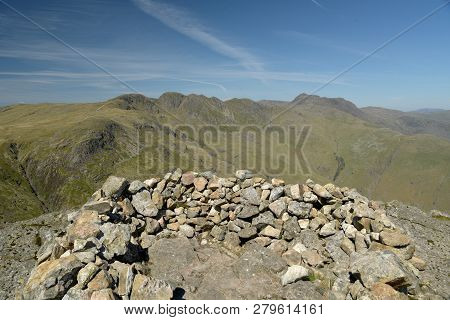 Crinkle Crags from summit of Pike of Blisco in the English Lake District poster