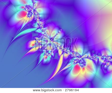 Abstract fractal image in colorful blues and purples in a chain or string. poster