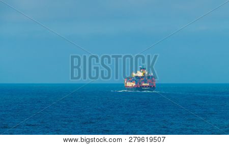 Freighter Cargo Container Ship On English Channel