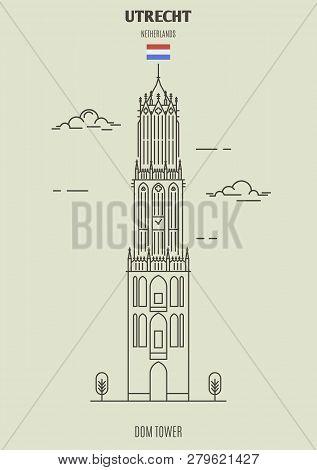 Dom Tower In Utrecht, Netherlands. Landmark Icon In Linear Style