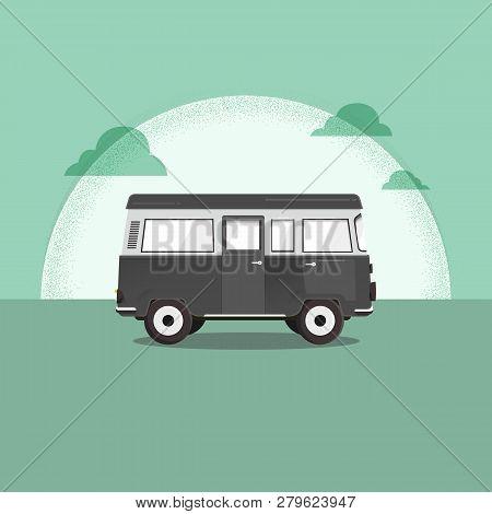 Vector Illustration - Retro Travel Red Van. Moon. Surfer Van. Vintage Travel Car. Old Classic Camper