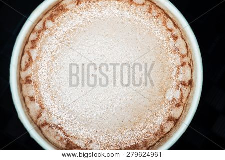 Cocoa Drink In White Paper Cup, Top View