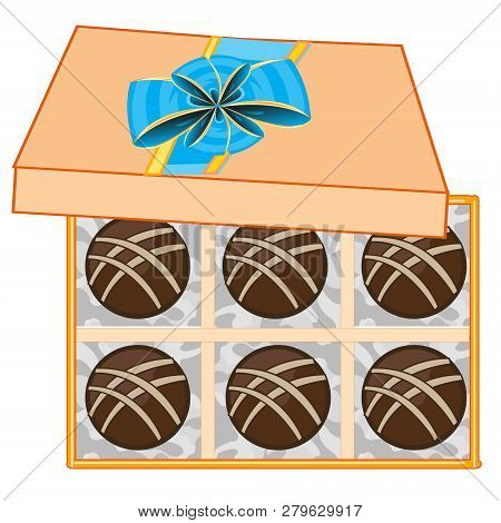 Gift Box With Chocolate Sweetmeat Decorative.vector Illustration