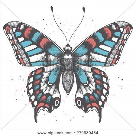 Tropica Butterfly With Shadow On White Background With Vector Dust. Realistic Illustration For Tatto