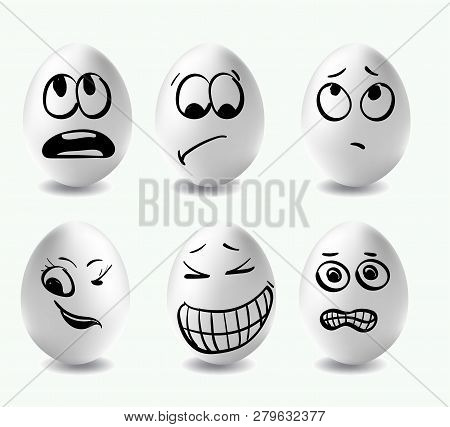 Funny Eggs. This Is Image Of Funny Eggs On White Background. Faces On The Eggs. Funny Easter Smile E