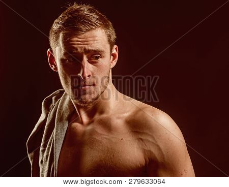 Fit Concept. Handsome Man With Fit Shoulders. Fit And Healthy. Commit To Be Fit.