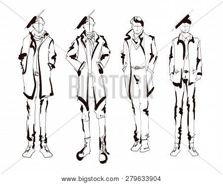 Stylish Handsome Man In Fashion Clothes. Fashion Man. Hand Drawn Male Models Set. Sketches. Handsome