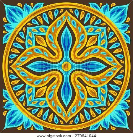Moroccan Ceramic Tile Pattern. Ethnic Floral Motifs. Mediterranean Traditional Folk Ornament. Portug