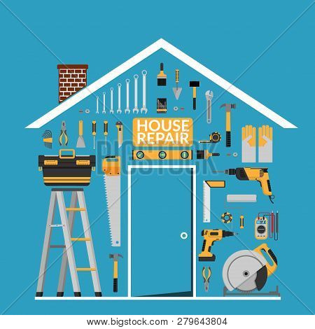 Set Of Diy Home Repair Working Tools Vector Logo Design Template Under Roof In Home Shape. Home Repa