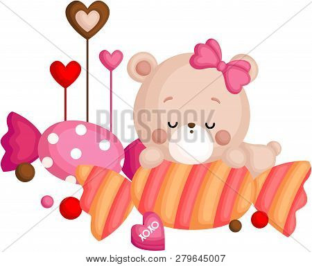 A Vector Of Cute Little Bear Sleeping Above Candy