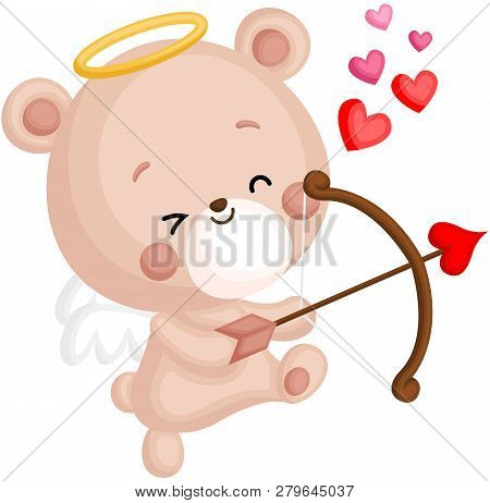 A Vector Of Cute Little Bear In Angel Costume Holding A Heart Bow And Arrow