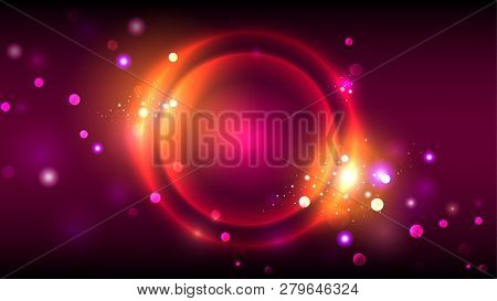 Party Background, Neon Golden Glowing Circles, Abstract Bright Round Frame On Dark Magenta Red Backg