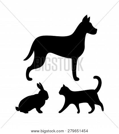Dog Puppy, Cat And Bunny Colorless Silhouettes Isolated Icons Vector. Hound Wagging Tail And Kitten,