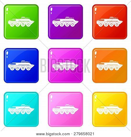 Armored Personnel Carrier Icons Of 9 Color Set Isolated Illustration