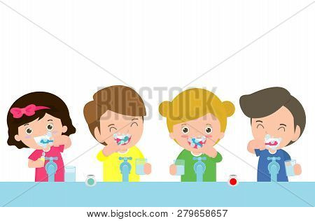 Illustration Of Kids Brushing A Tooth ,little Children Take Care Of And Clean A Tooth. Cartoon Child