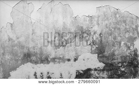 Old White Concrete Wall Are Peeling. Paint Concrete Wall Abstract Texture Background. Deteriorated O