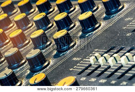 Audio Sound Mixer Console. Sound Mixing Desk. Music Mixer Control Panel In Recording Studio. Audio M