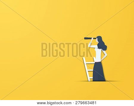 Business Vision Vector Concept With Businesswoman On Ladder With Telescope. Symbol Of New Beginning,