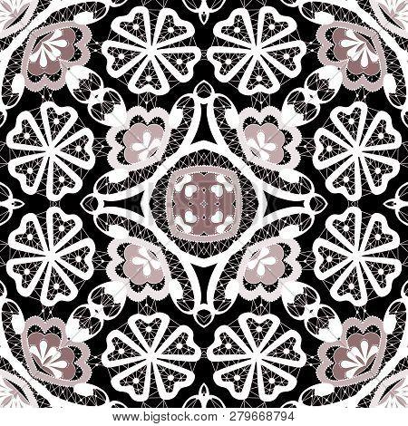 Lace Ornamental Seamless White Pink Pattern Black Background