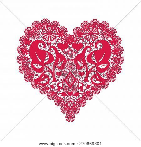 Lace Red Heart Illustration Valentines Day Romantic Retro White Background