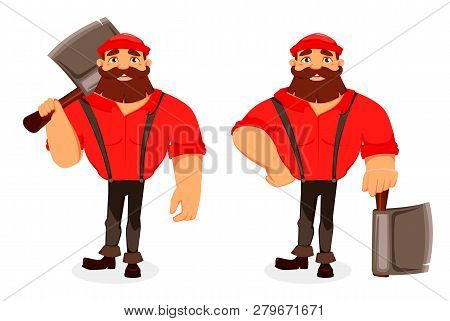 Lumberjack Cartoon Character, Set Of Two Poses. Handsome Logger Holding Big Axe. Vector Illustration