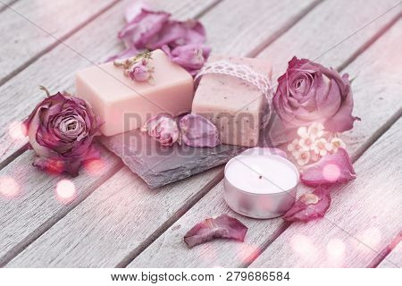 Mothers Day Decoration With Natural Soap And Purple Roses For Beauty Care