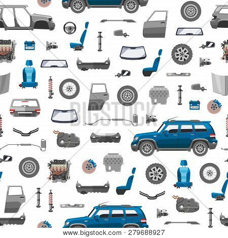 Auto Spare Parts Icons Seamless Pattern. Car Service Vector Illustration. Car Detail, Repair, Gear B