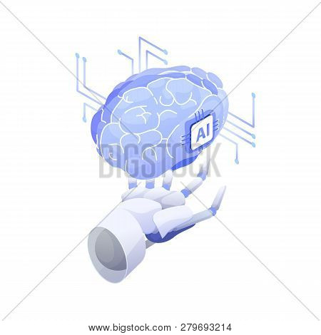 Artificial intelligence, smart robot, conscious machine, innovative technology, hi tech innovation, scientific research in cybernetics. Robotic hand holding AI brain. Modern vector illustration. poster